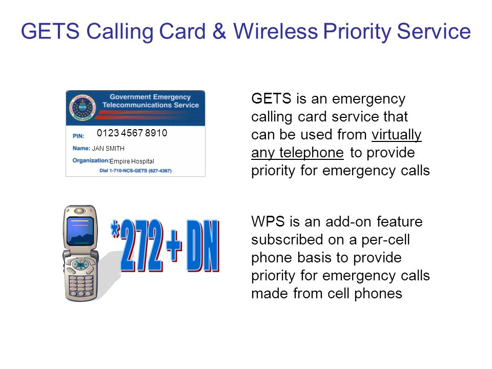 GETS Calling Card & Wireless Priority Service