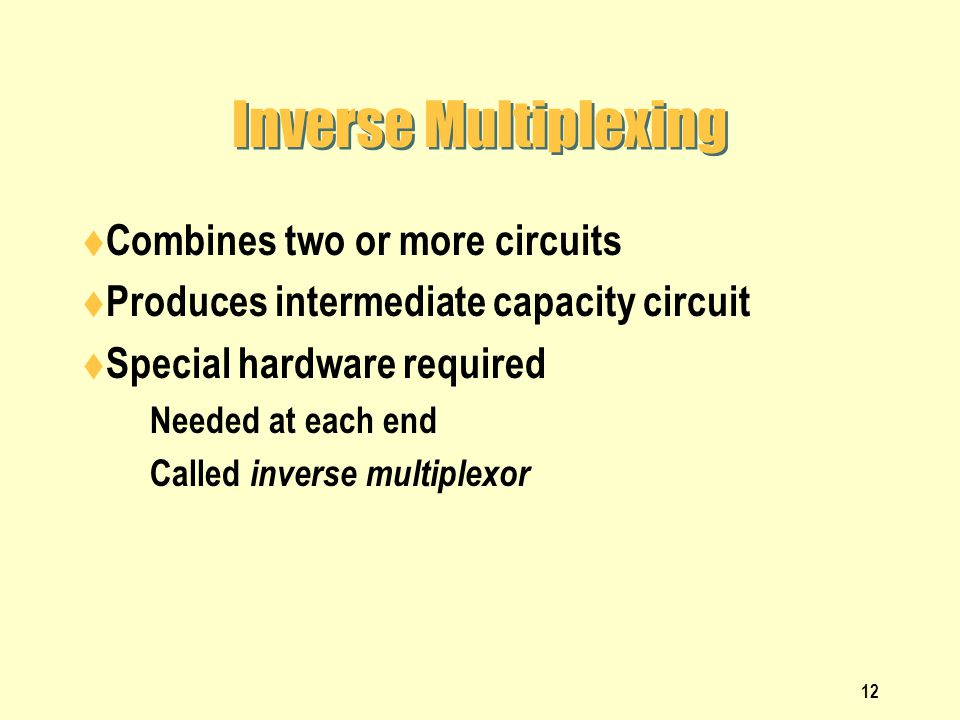 Inverse Multiplexing Combines two or more circuits