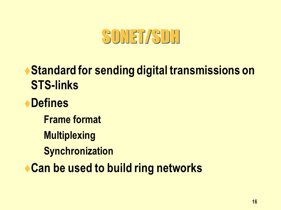 SONET/SDH Standard for sending digital transmissions on STS-links
