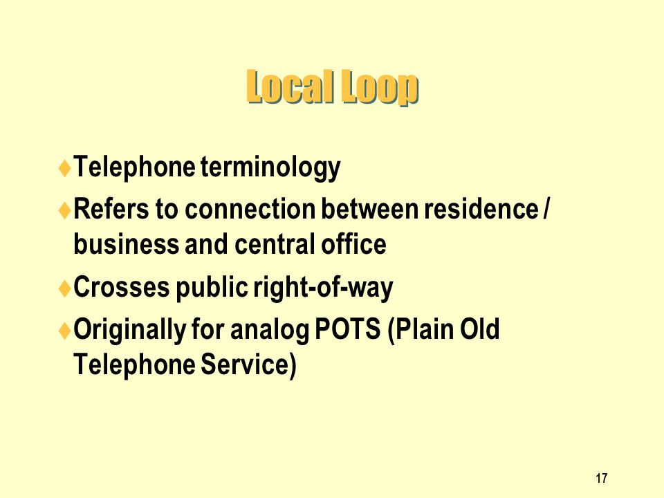 Local Loop Telephone terminology