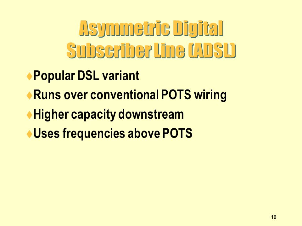 Asymmetric Digital Subscriber Line (ADSL)