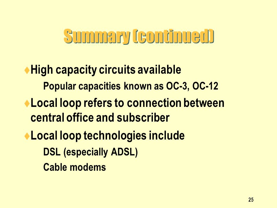 Summary (continued) High capacity circuits available