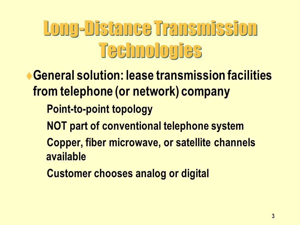Long-Distance Transmission Technologies