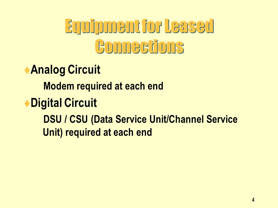 Equipment for Leased Connections