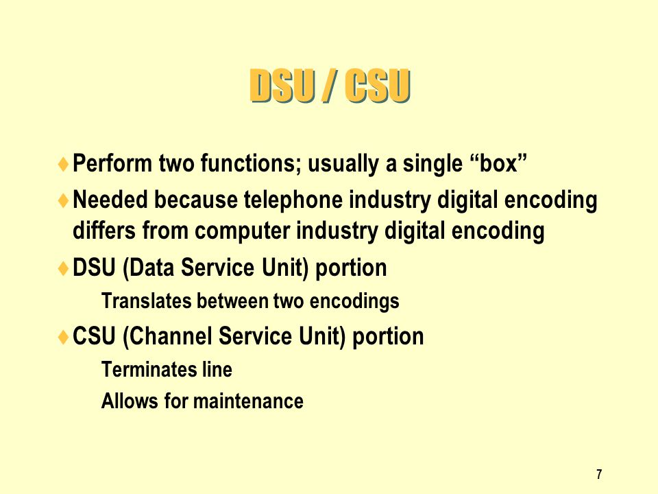 DSU / CSU Perform two functions; usually a single box