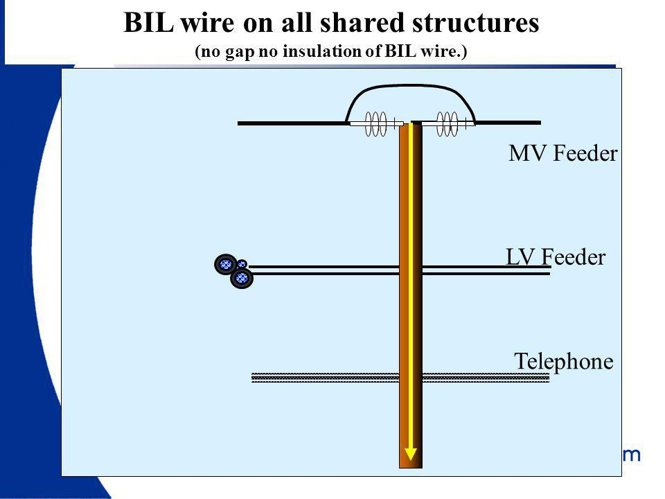 BIL wire on all shared structures (no gap no insulation of BIL wire.)