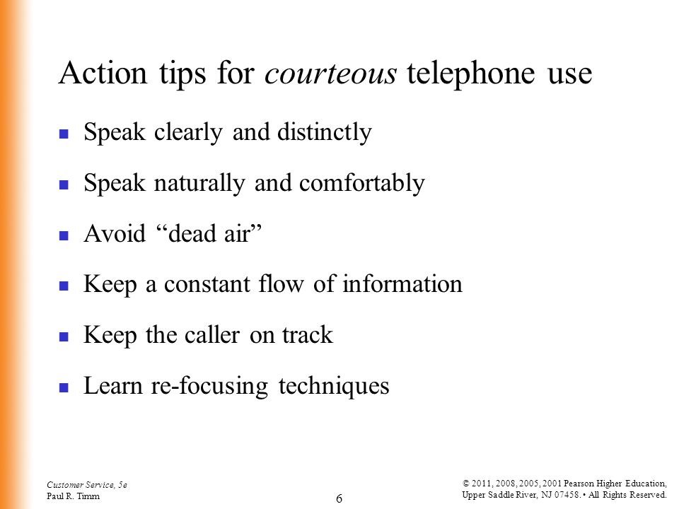 Action tips for courteous telephone use