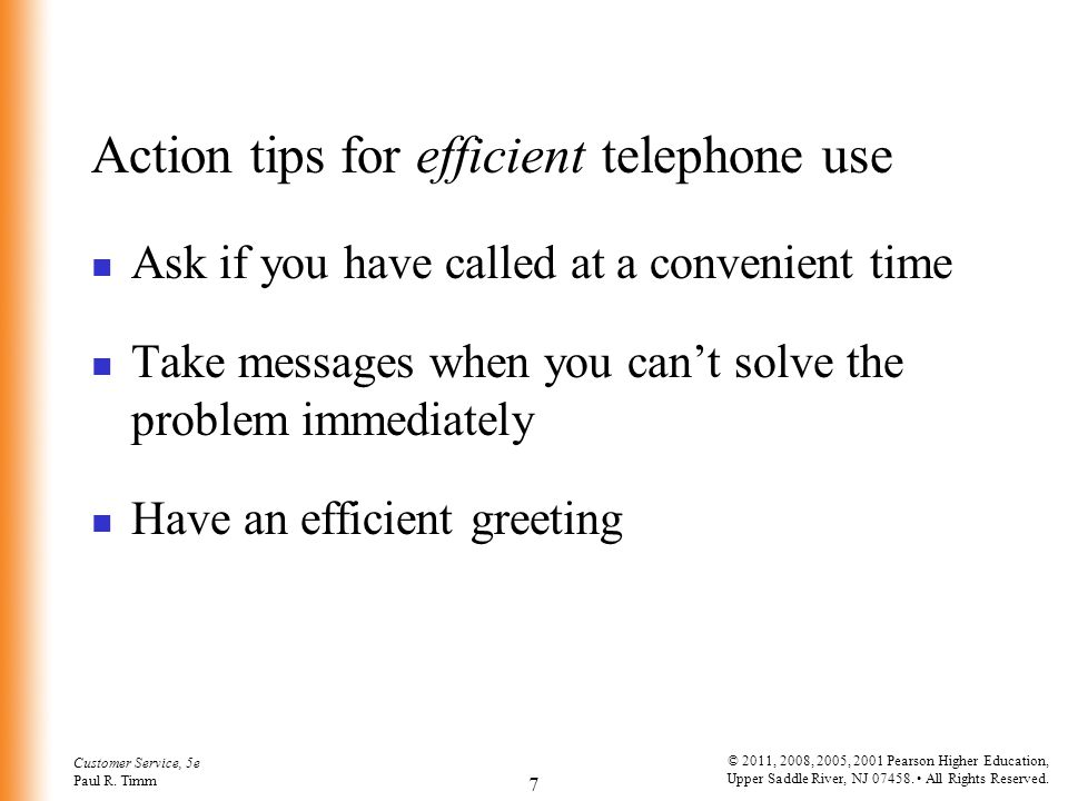 Action tips for efficient telephone use