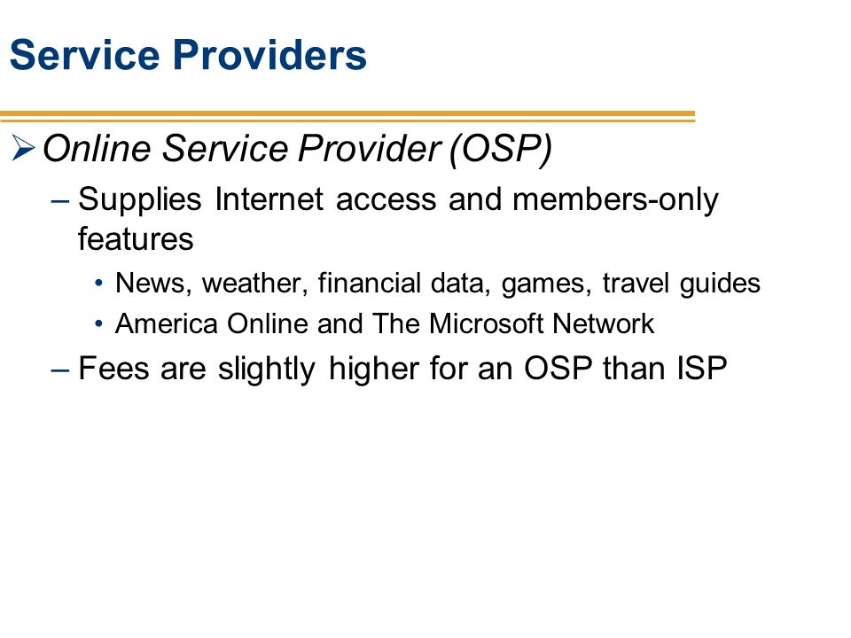 Service Providers Online Service Provider (OSP)
