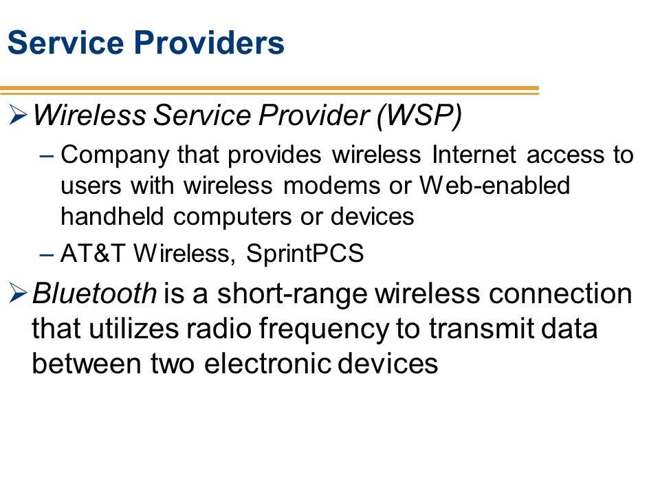 Service Providers Wireless Service Provider (WSP)