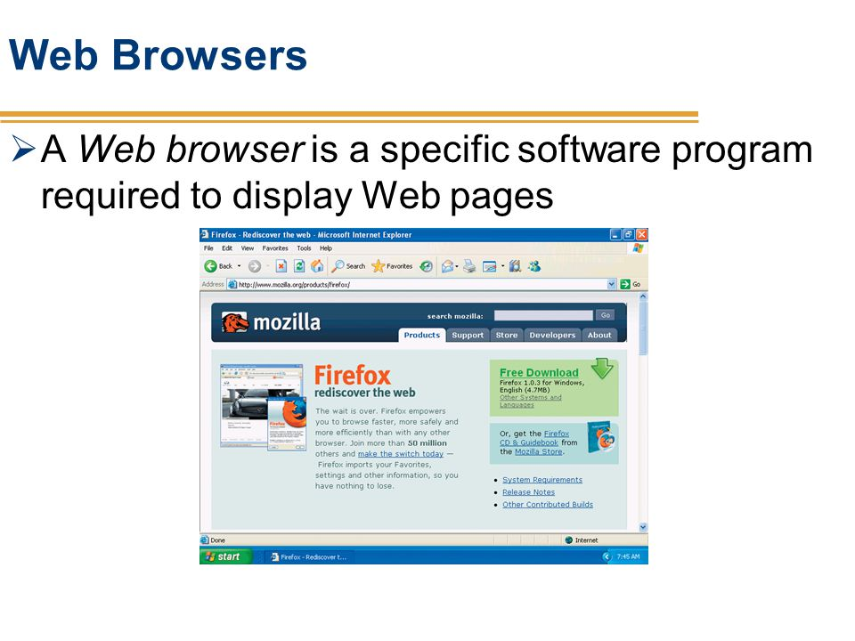 Web Browsers A Web browser is a specific software program required to display Web pages