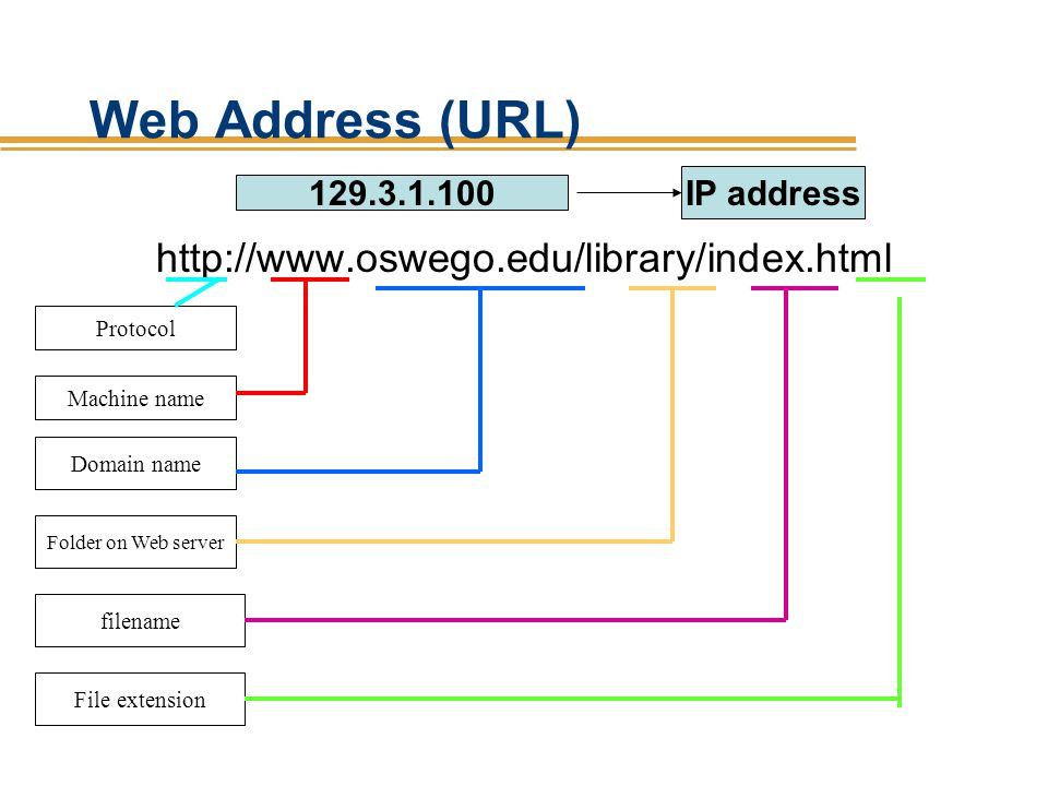 Web Address (URL) http://www.oswego.edu/library/index.html IP address