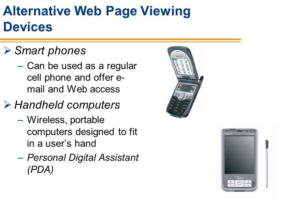 Alternative Web Page Viewing Devices
