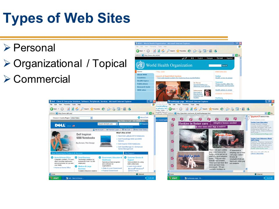 Types of Web Sites Personal Organizational / Topical Commercial