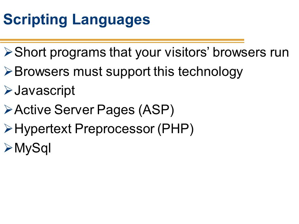 Scripting Languages Short programs that your visitors' browsers run