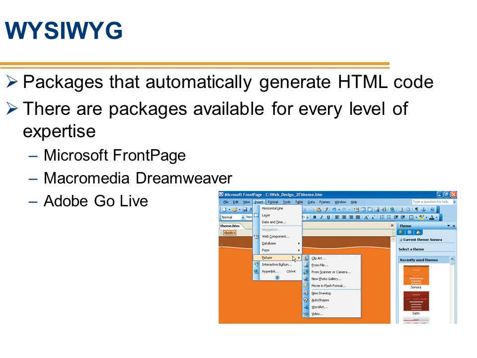 WYSIWYG Packages that automatically generate HTML code