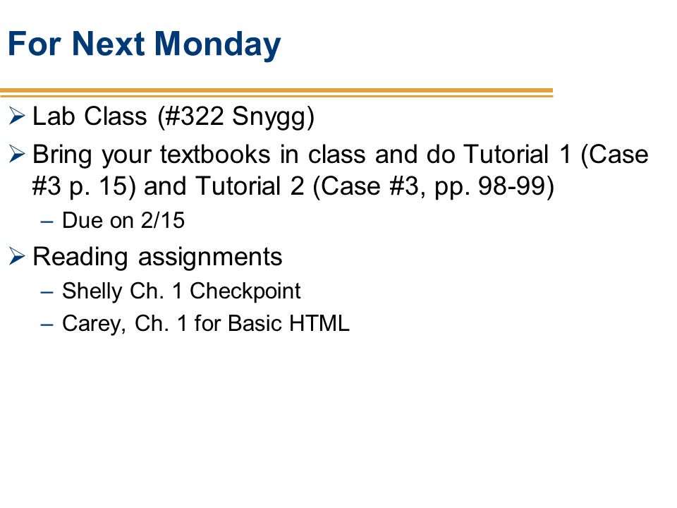 For Next Monday Lab Class (#322 Snygg)