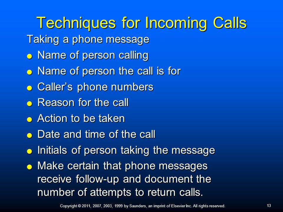 Techniques for Incoming Calls