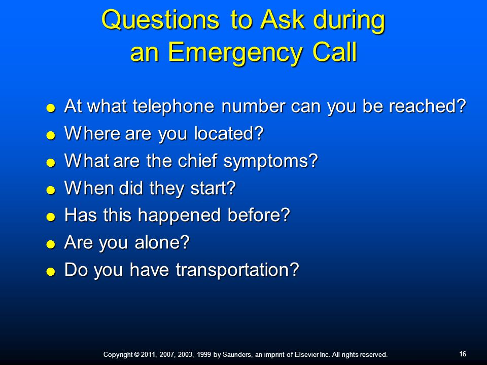 Questions to Ask during an Emergency Call