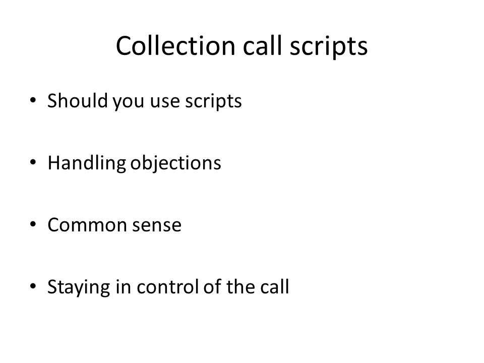 Collection call scripts