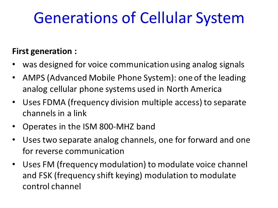 Generations of Cellular System