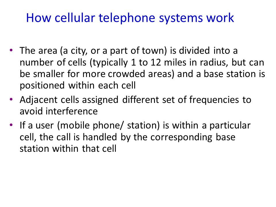 How cellular telephone systems work