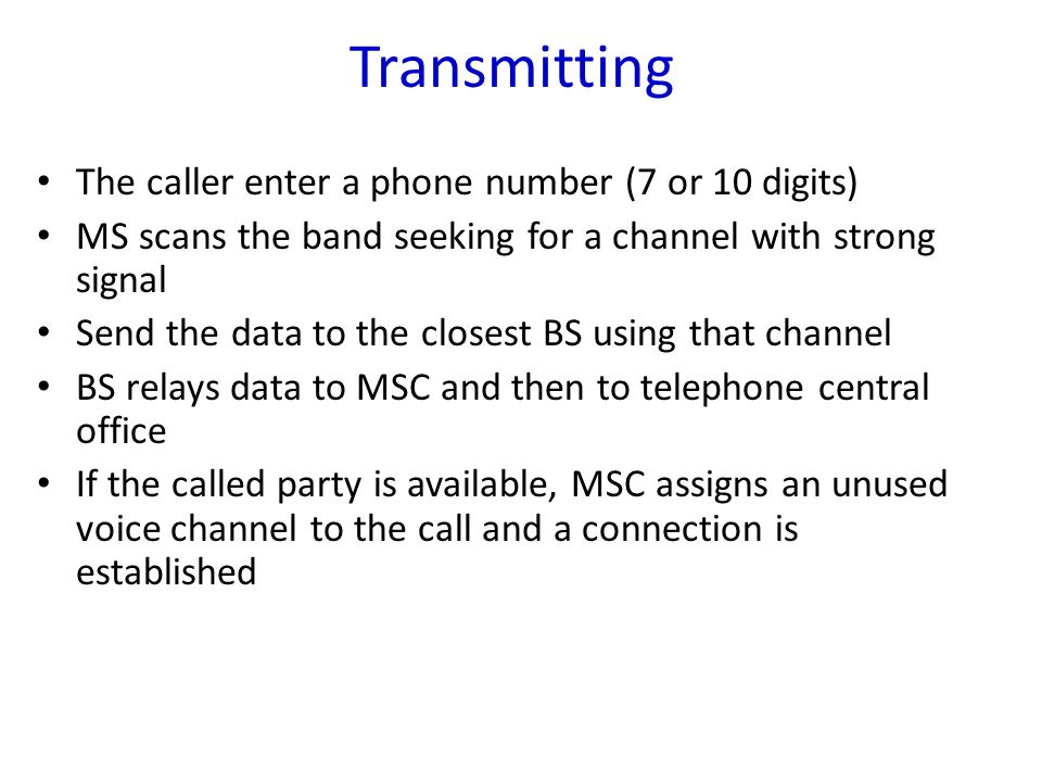 Transmitting The caller enter a phone number (7 or 10 digits)