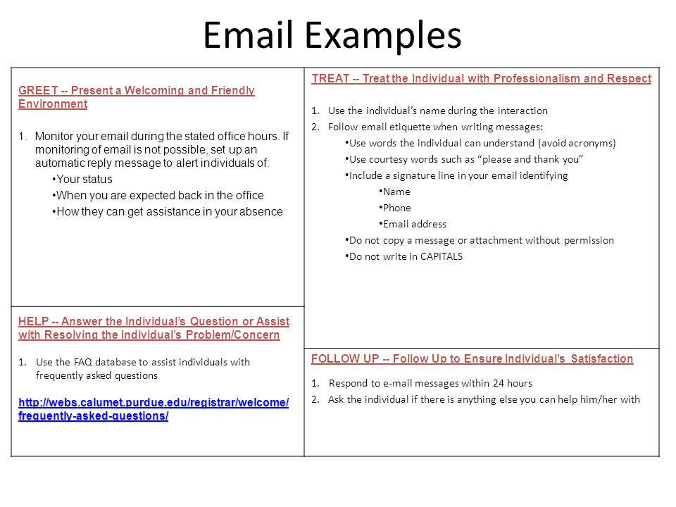 Email Examples GREET -- Present a Welcoming and Friendly Environment