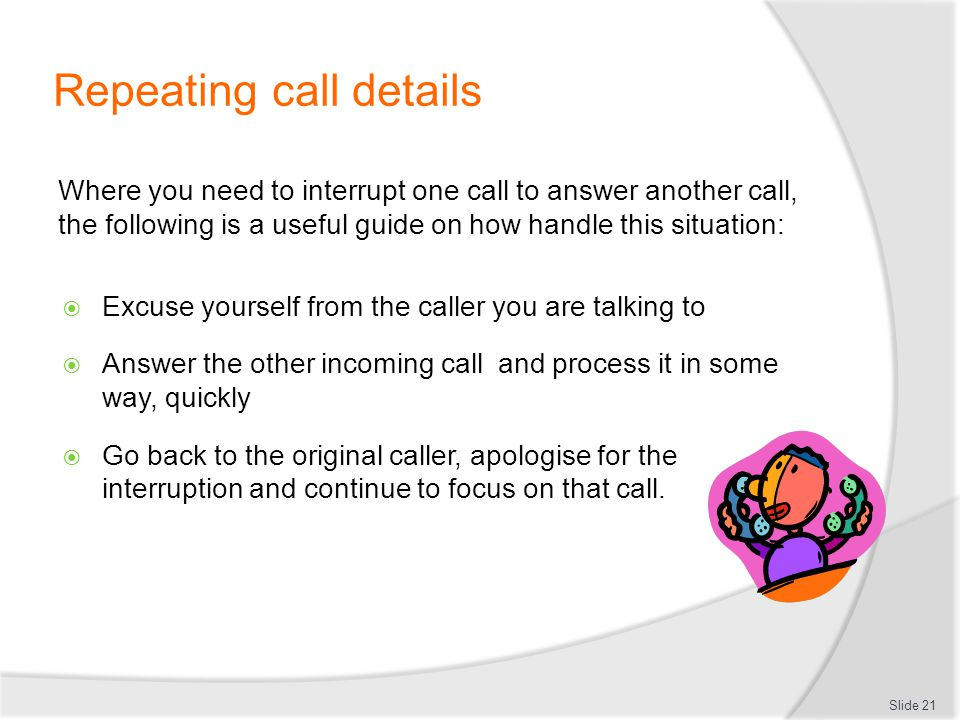 Repeating call details