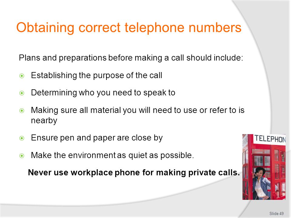 Obtaining correct telephone numbers