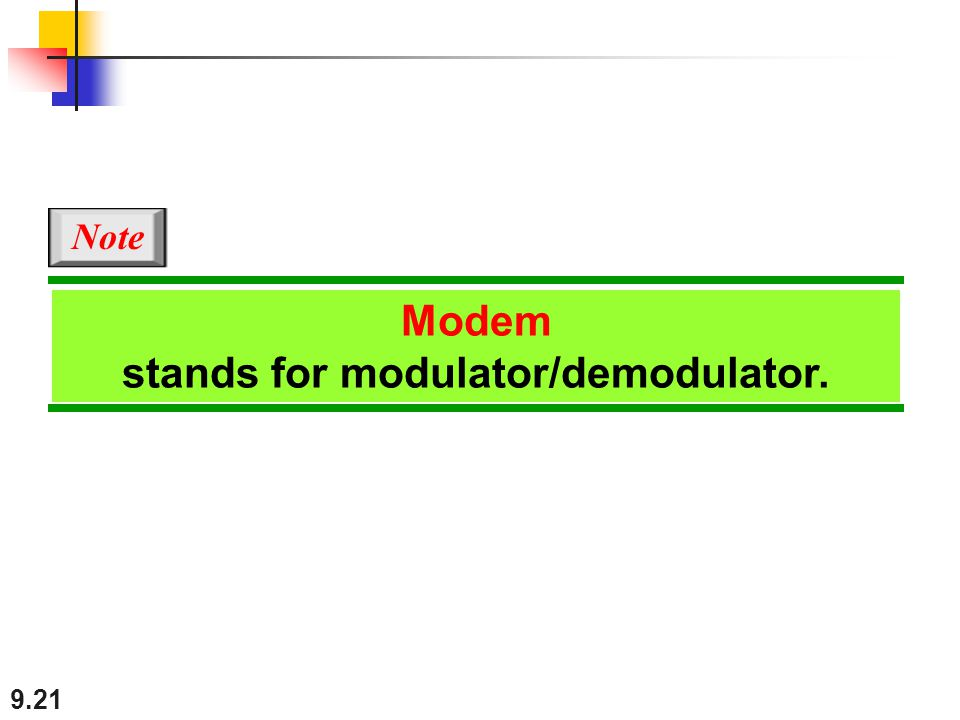 stands for modulator/demodulator.