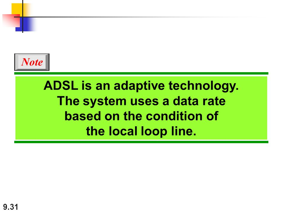 ADSL is an adaptive technology. The system uses a data rate