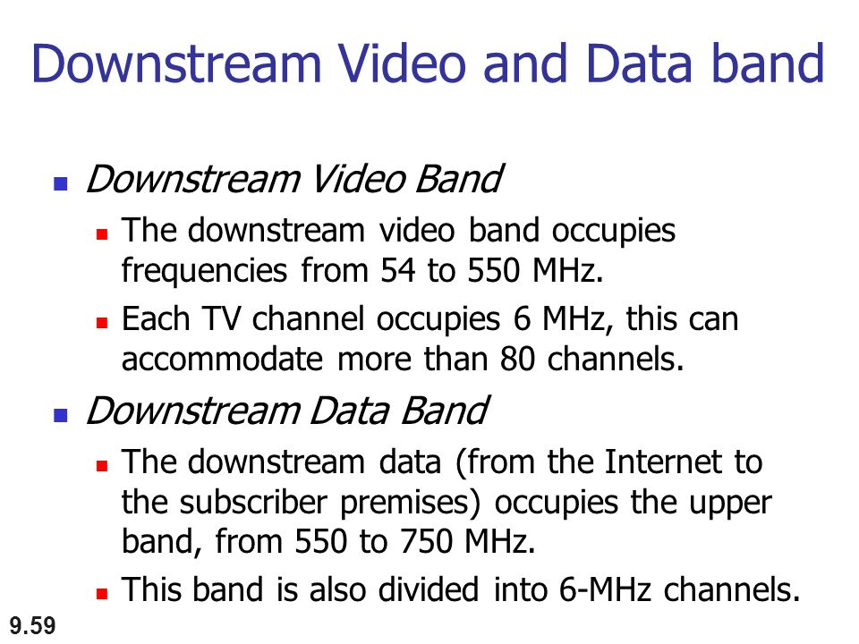 Downstream Video and Data band