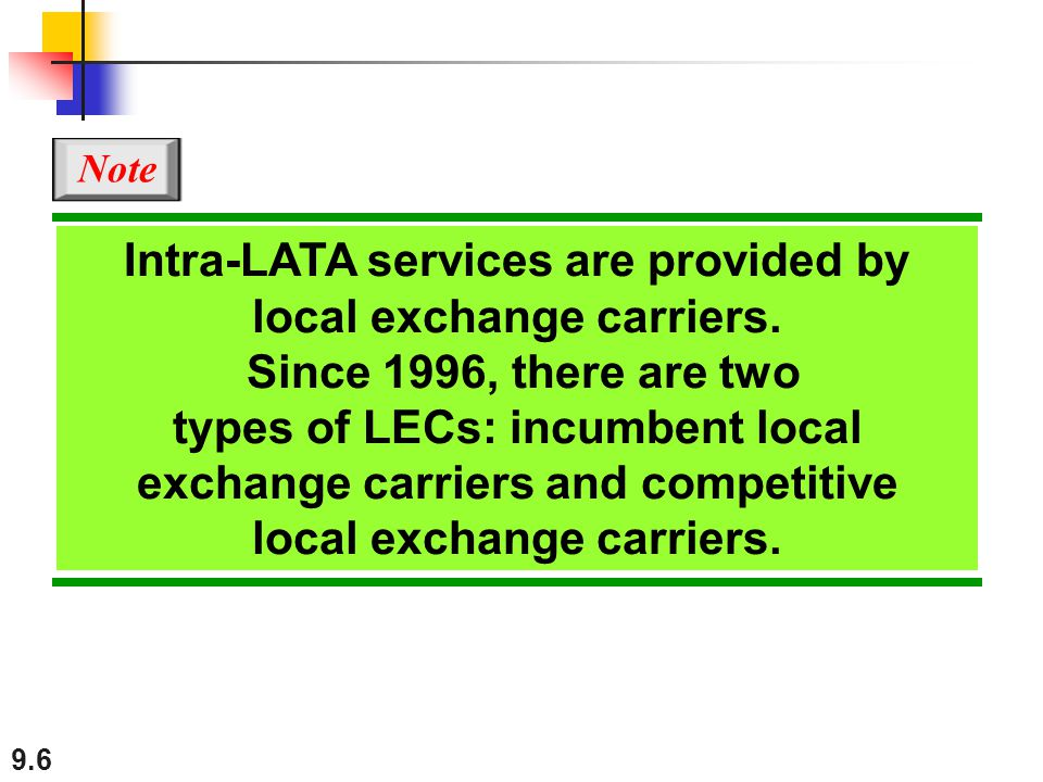 Note Intra-LATA services are provided by local exchange carriers. Since 1996, there are two.