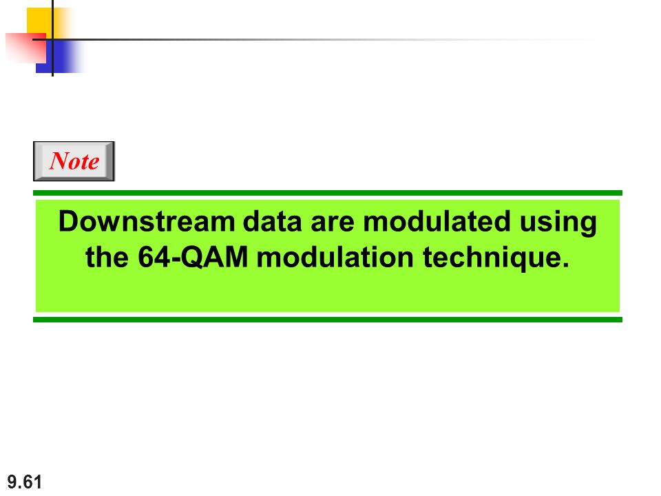 Downstream data are modulated using the 64-QAM modulation technique.