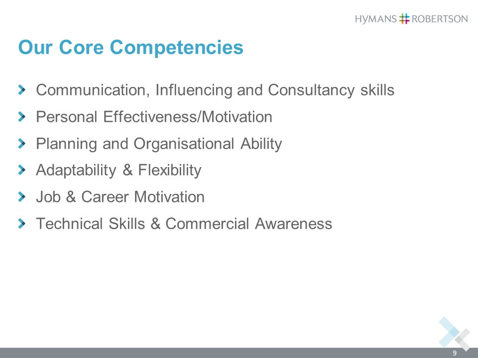 Our Core Competencies Communication, Influencing and Consultancy skills. Personal Effectiveness/Motivation.