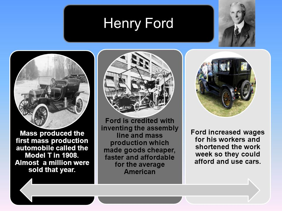 Henry Ford Mass produced the first mass production automobile called the Model T in 1908. Almost a million were sold that year.