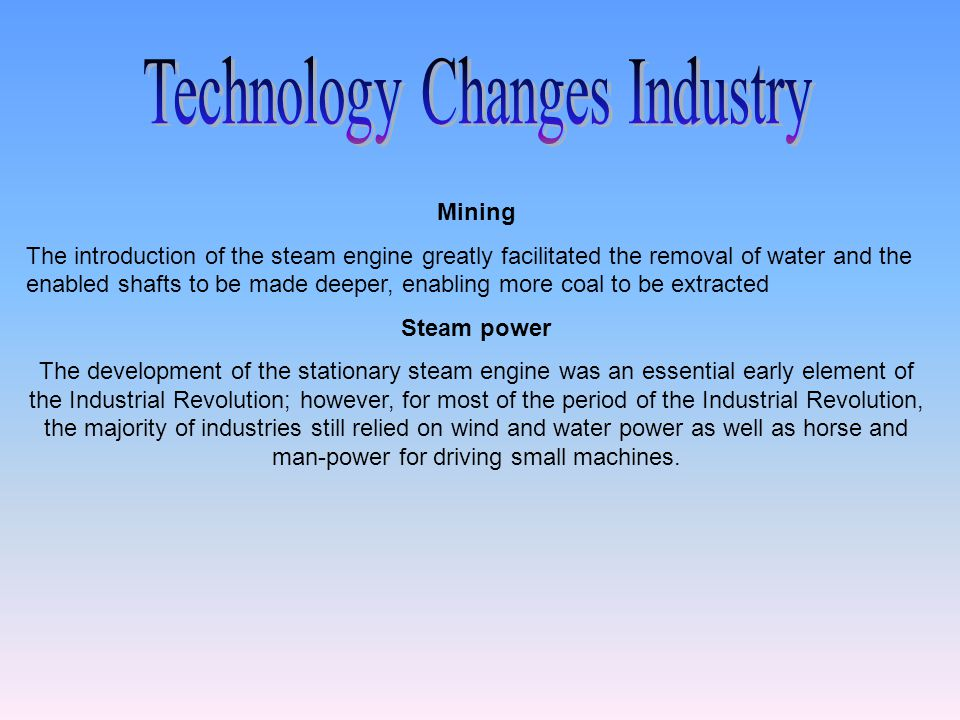 Technology Changes Industry