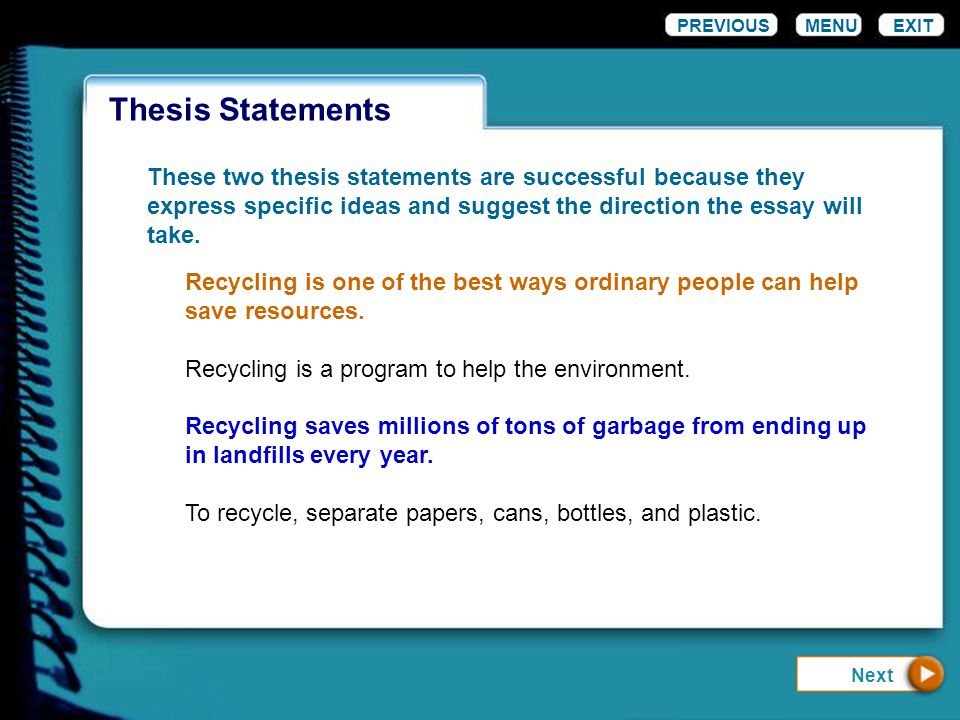 thesis statements menu exit ppt  6 thesis statements