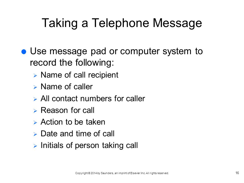 Taking a Telephone Message