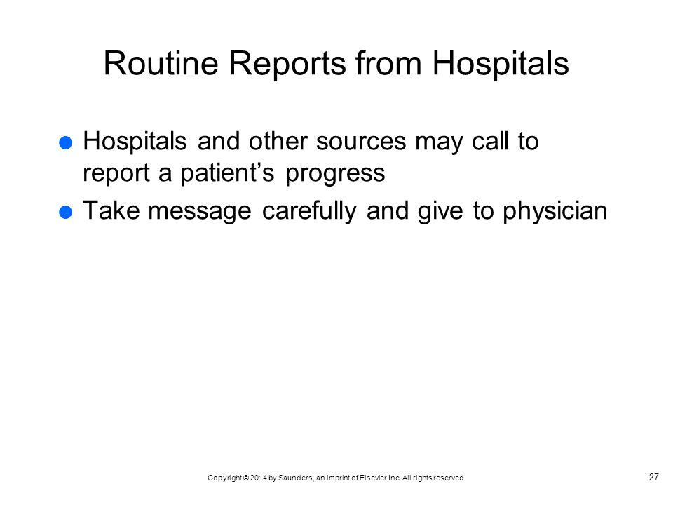 Routine Reports from Hospitals
