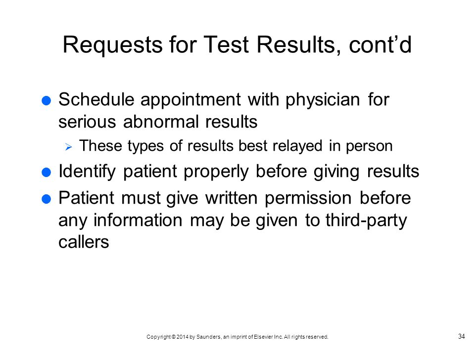 Requests for Test Results, cont'd