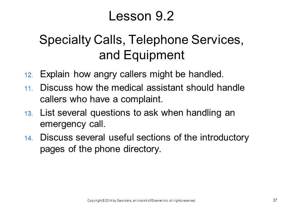 Specialty Calls, Telephone Services, and Equipment