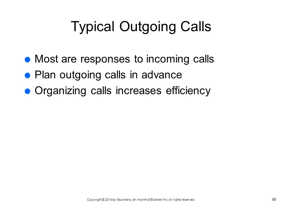 Typical Outgoing Calls