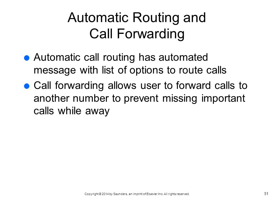 Automatic Routing and Call Forwarding