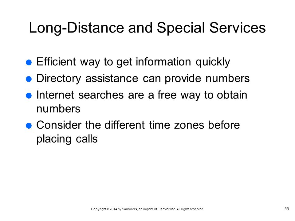 Long-Distance and Special Services