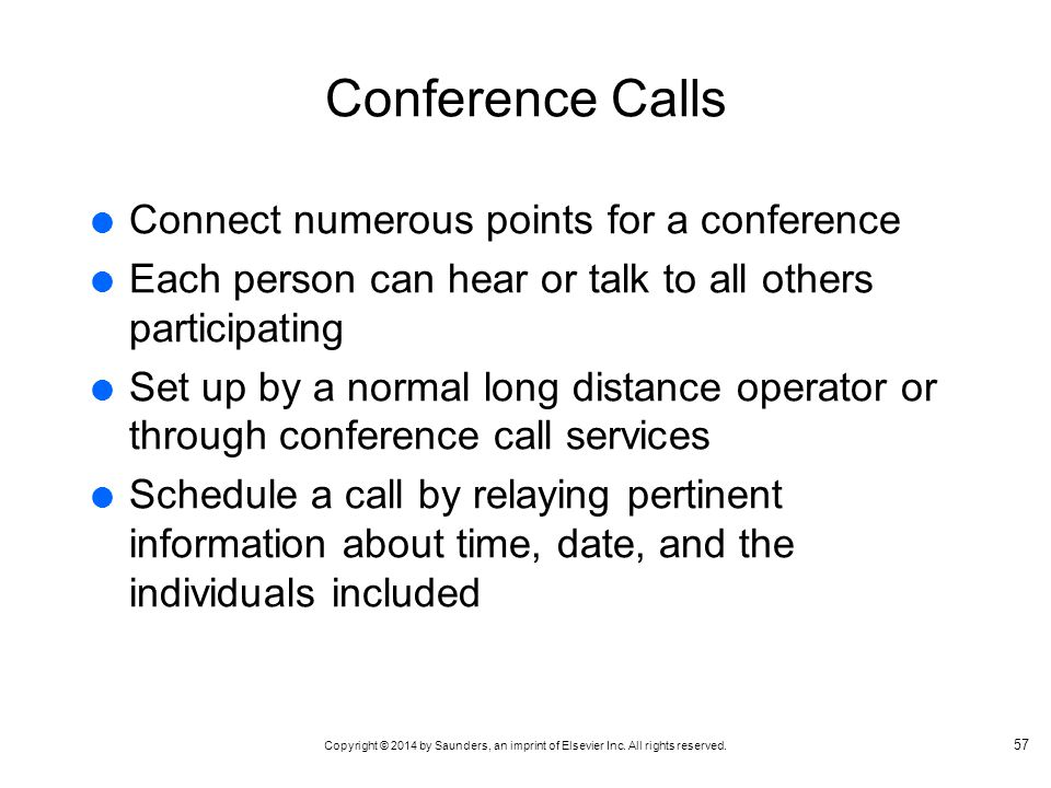 Conference Calls Connect numerous points for a conference