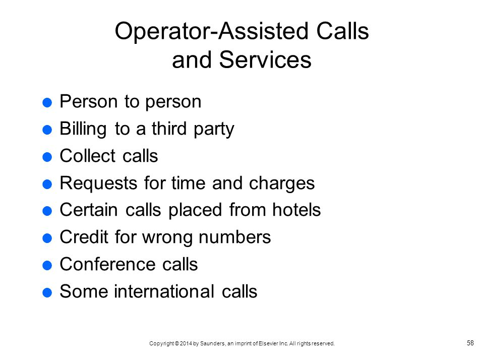 Operator-Assisted Calls and Services