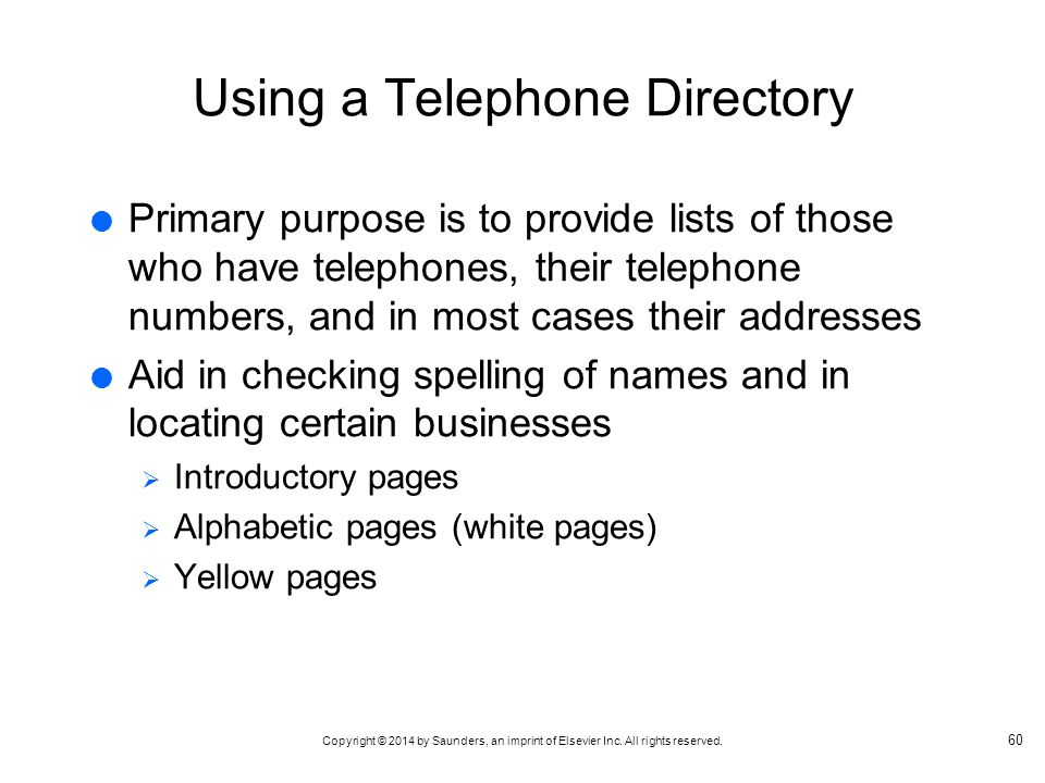 Using a Telephone Directory