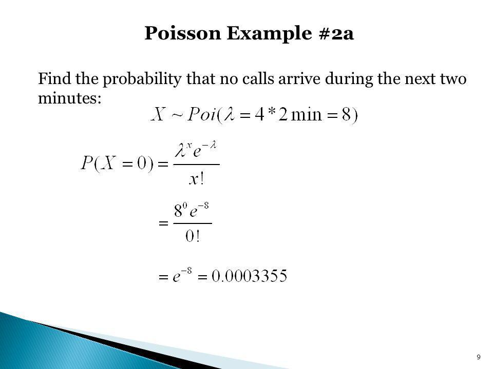 Poisson Example #2a Find the probability that no calls arrive during the next two minutes: